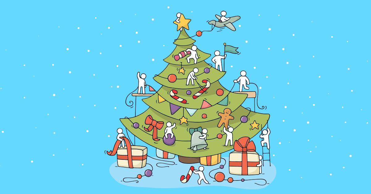 Un albero di Natale decorato